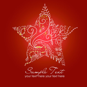 Beautiful Christmas Star Illustration. Christmas Card-