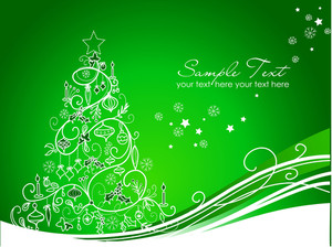 Beautiful Christmas Tree On Green Background
