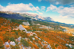 Beautiful colorful autumn flank of hill. View from Mount Koshka