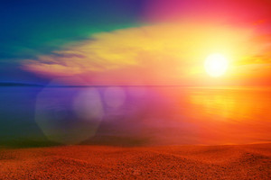 Beautiful colorful sunset over beach