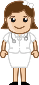 Beautiful Cute Nurse - Medical Cartoon Vector Character