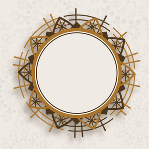 Beautiful Decorated Circle Photo Frame On Abstract Background.