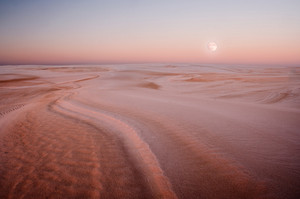 Beautiful desert landscape. dunes at sunrise. Slowinski National Park in Poland