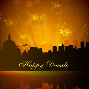 Beautiful Diwali Background In Urban City With Fire Crackers Explosion.