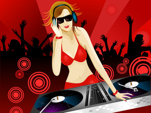 Beautiful Dj Girl In Red Dress.