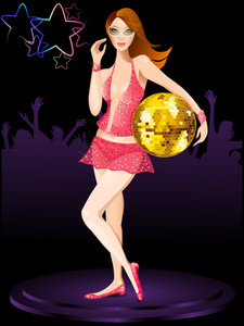 Beautiful Dj Girl With Disco Ball.
