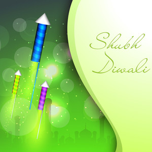 Beautiful Fire Crackers Background For Hindu Community Festival Diwali Or Deepawali In India.