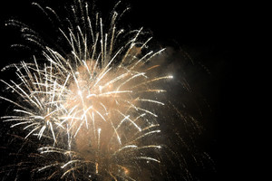 Beautiful fireworks exploding over a dark night sky. Plenty of copy space.