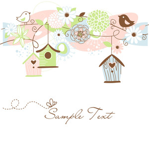 Beautiful Floral Background With Bird Houses