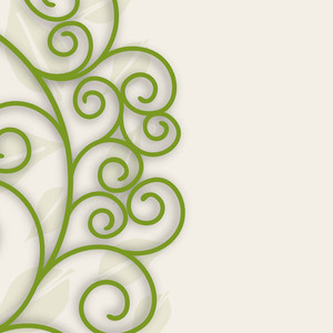 Beautiful Floral Background With Green Tree Branches And Space For Your Text