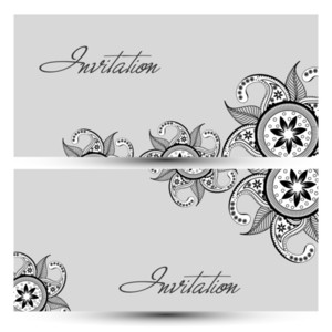 Beautiful Floral Decorated Invitation Card For Wedding And Other Ceremony