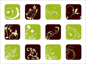 Beautiful Floral Design Icons