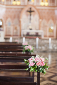 Beautiful flower wedding decoration in a church
