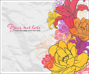 Beautiful Flowers Card. Vector Illustration.
