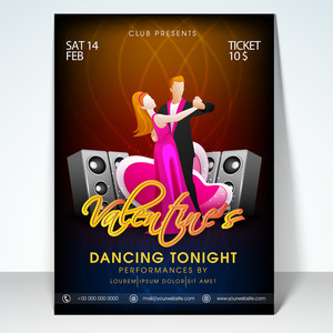 Beautiful flyer banner or template with young dancing couple on louds music beats for Happy Valentines Day party celebration.