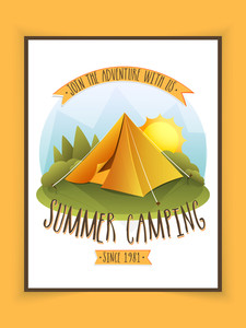 Beautiful flyer template or banner design for Summer Camping.