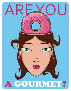 Beautiful Girl Head And Donut. Vector Illustration.