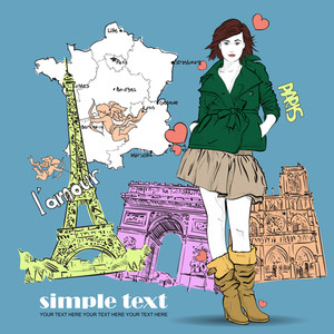 Beautiful Girl In Sketch-style On A French-background. Vector Illustration.