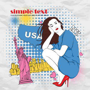 Beautiful Girl On A Grunge Usa-background. Vector Illustation.