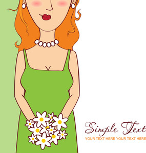 Beautiful Girl With Bouquet. Vector Illustration