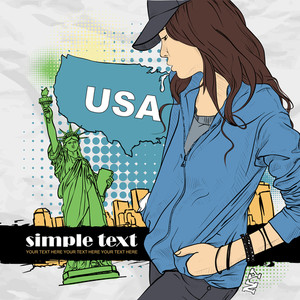 Beautiful Girl With Cap In Sketch-style On A Usa-background. Vector Illustration.