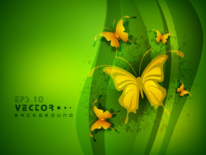 Beautiful Green Abstract Background With Golden Butterfly.