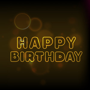 Beautiful Happy Birthday Text On Shiny Brown Background
