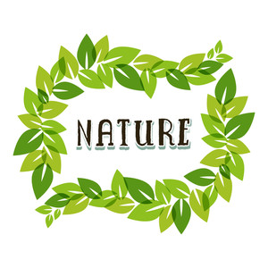 Beautiful Illustration Of Green Leaves And Text Nature On Grey Background