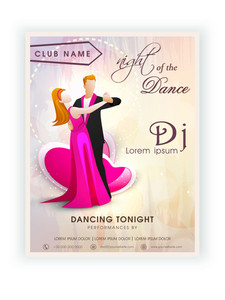 Beautiful invitation card design for Night Dance Party decorated with young couple in dancing pose.
