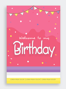 Beautiful invitation card design with bunting decoration for Birthday Party celebration.