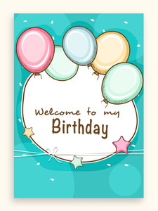 Beautiful invitation card or greeting card decorated by colorful balloons for Happy Birthday celebration.