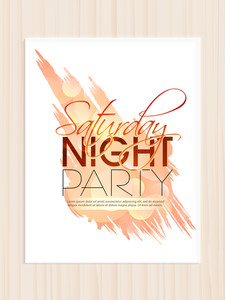 Beautiful invitation card template or flyer design for Saturday Night Party.