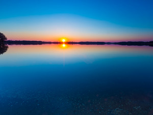 Beautiful lake at sunset. Tranquil scene photographed in Poland