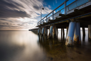 Beautiful long exposure seascape with wooden pier. Pier in Orlowo
