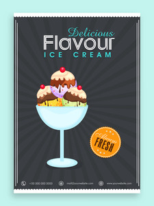 Beautiful menu card design for Ice Cream parlour.Menu card design for ice cream.