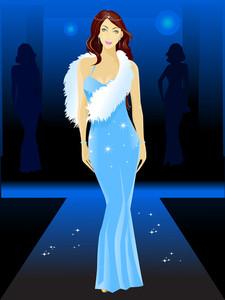 Beautiful Model In Blue.