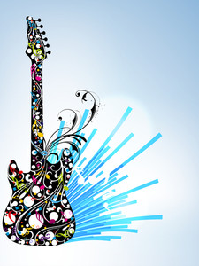 Beautiful musical guitar decorated with colorful floral design on blue abstract background.