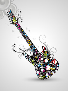 Beautiful musical guitar decorated with colorful floral design on floral  decorated abstract background.
