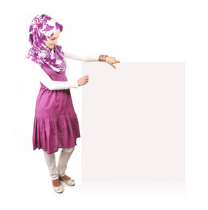 Beautiful muslim fashion girl with copy-space banner for your message or picture