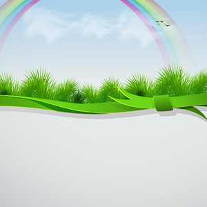 Beautiful Nature Background With Rainbow And Green Grass