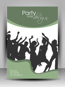 Beautiful Party Flyer With Dancing Silhouette On Green And White Background. Eps 10 Editable Vector Illustration.