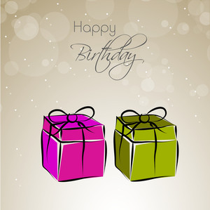 Beautiful Pink And Green Gift Boxes On Shiny Background For Birthday Party Celebration