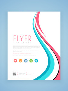 Beautiful professional business flyer template or brochure design with stylish waves.