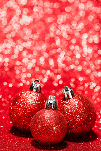 Beautiful red christmas balls