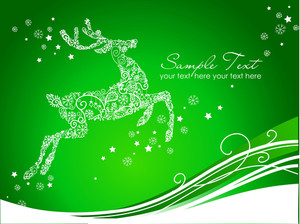 Beautiful Reindeer On Green Background