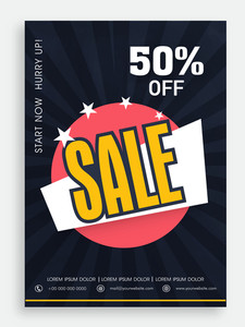 Beautiful sale poster banner or flyer design with 50% discount offer.