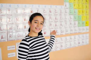 Beautiful schoolgirl showin periodic table of elements
