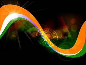 Beautiful Shiny Wave Background For Independence Day And Republic Day.