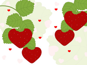 Beautiful Strawberry Branches With Heart Shape For Love And Valentine's Card. Vector