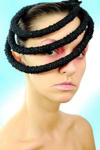 Beautiful stylish glamour woman with masking hat